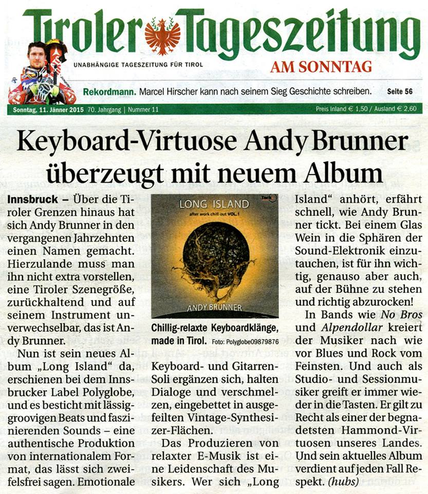 Andy Brunner - Solo CD Jan 2015 Presseartikel TT